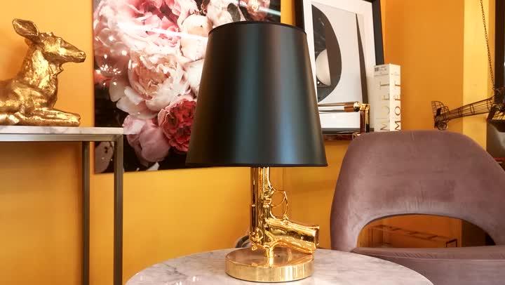 Gold Chrome Handgun Lamp