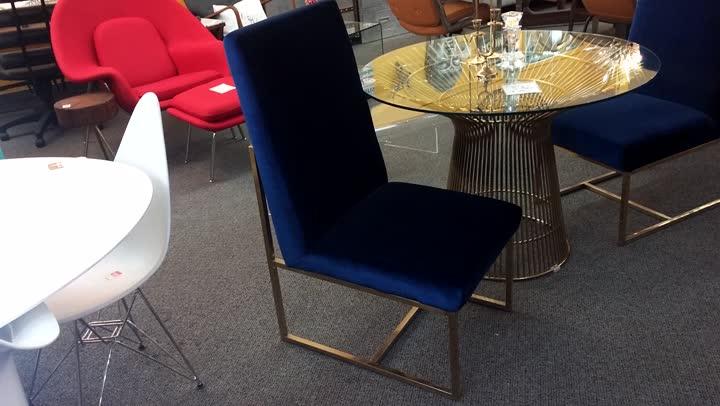 Navy Blue Velour Chair Brass Base